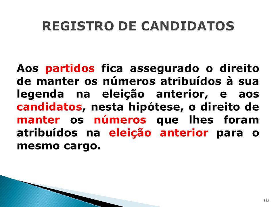 Aos partidos fica assegurado o direito de manter os números atribuídos à sua legenda na eleição anterior, e aos candidatos, nesta hipótese, o direito