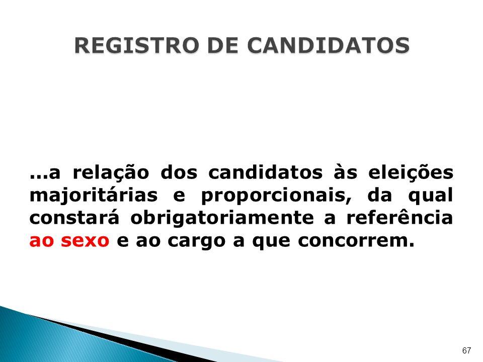 ...a relação dos candidatos às eleições majoritárias e proporcionais, da qual constará obrigatoriamente a referência ao sexo e ao cargo a que concorre