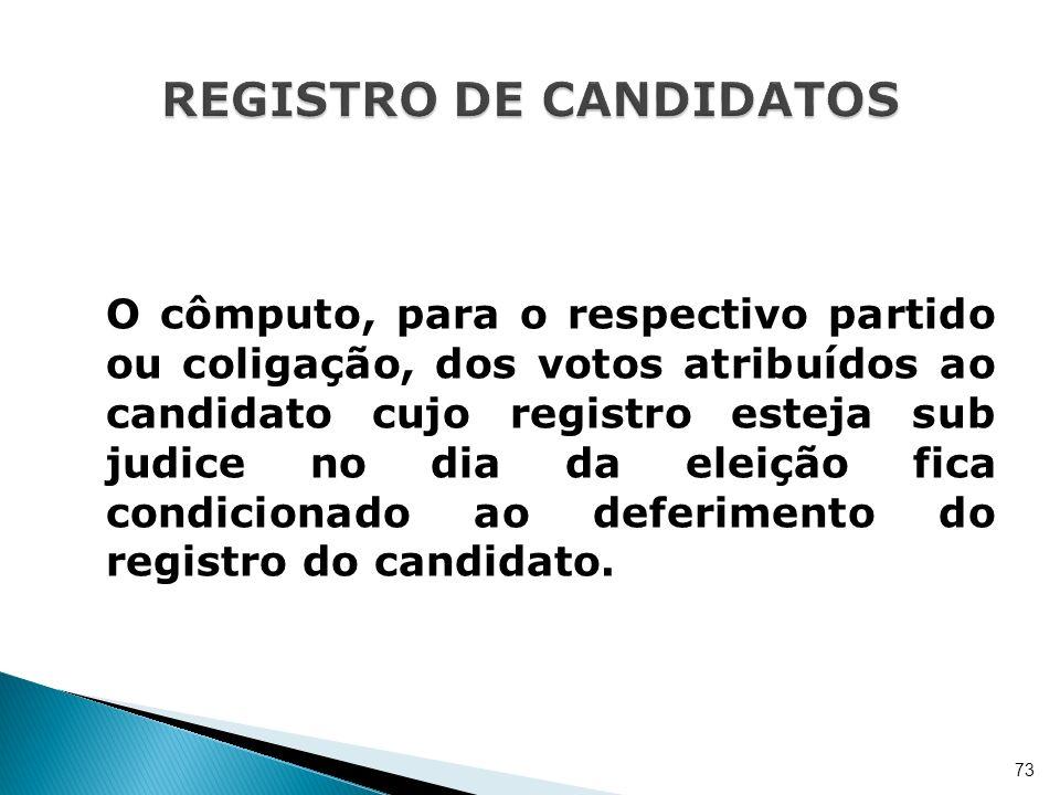 O cômputo, para o respectivo partido ou coligação, dos votos atribuídos ao candidato cujo registro esteja sub judice no dia da eleição fica condiciona