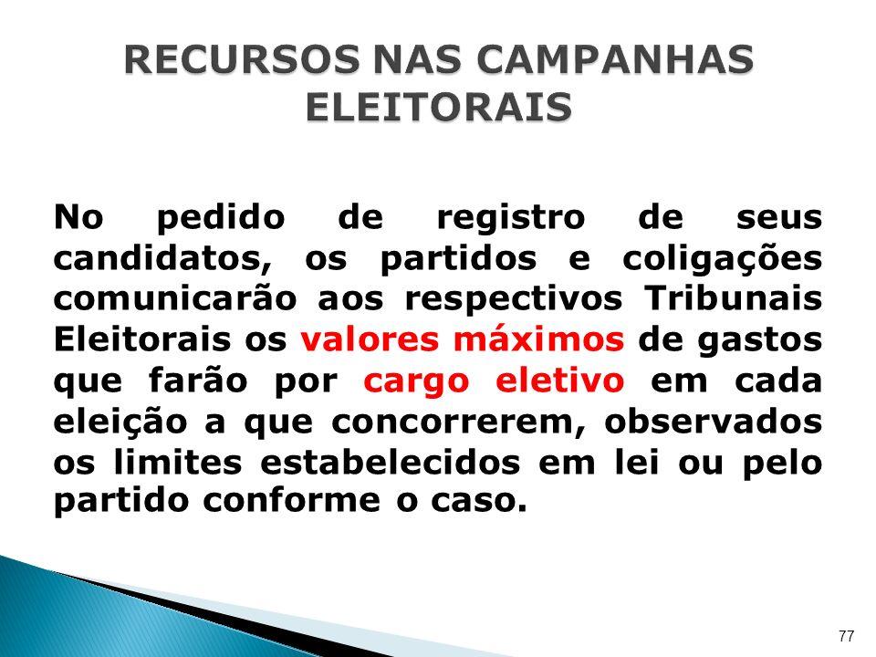 No pedido de registro de seus candidatos, os partidos e coligações comunicarão aos respectivos Tribunais Eleitorais os valores máximos de gastos que f
