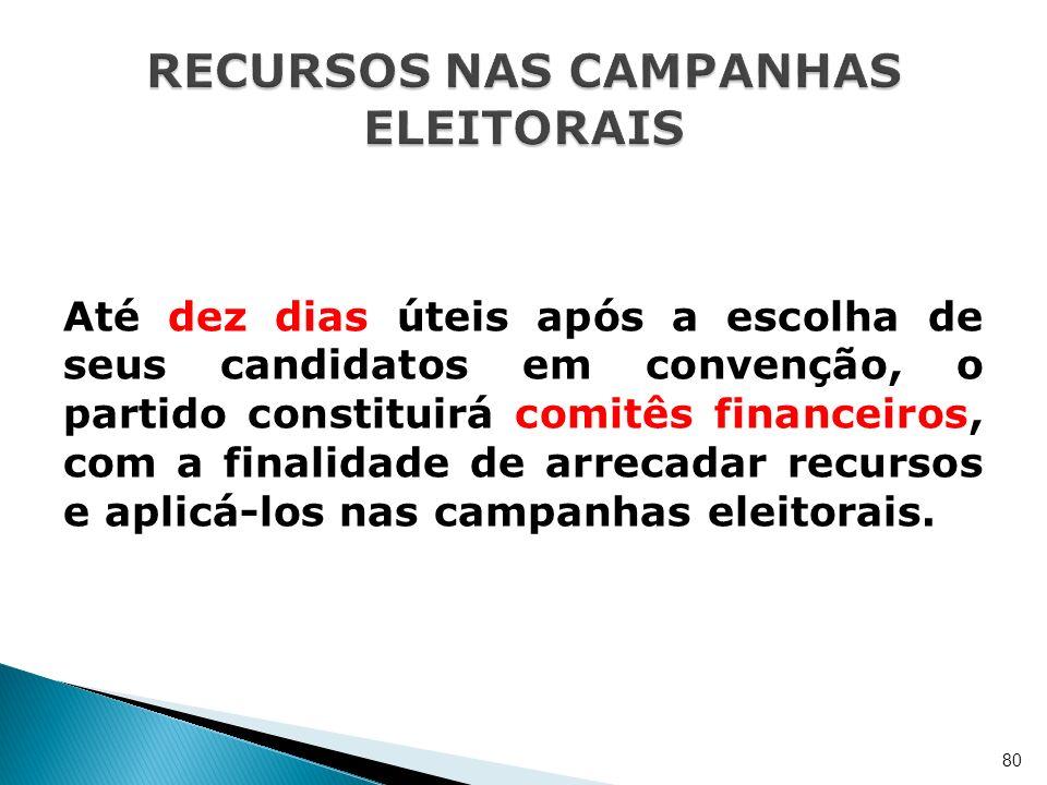 Até dez dias úteis após a escolha de seus candidatos em convenção, o partido constituirá comitês financeiros, com a finalidade de arrecadar recursos e