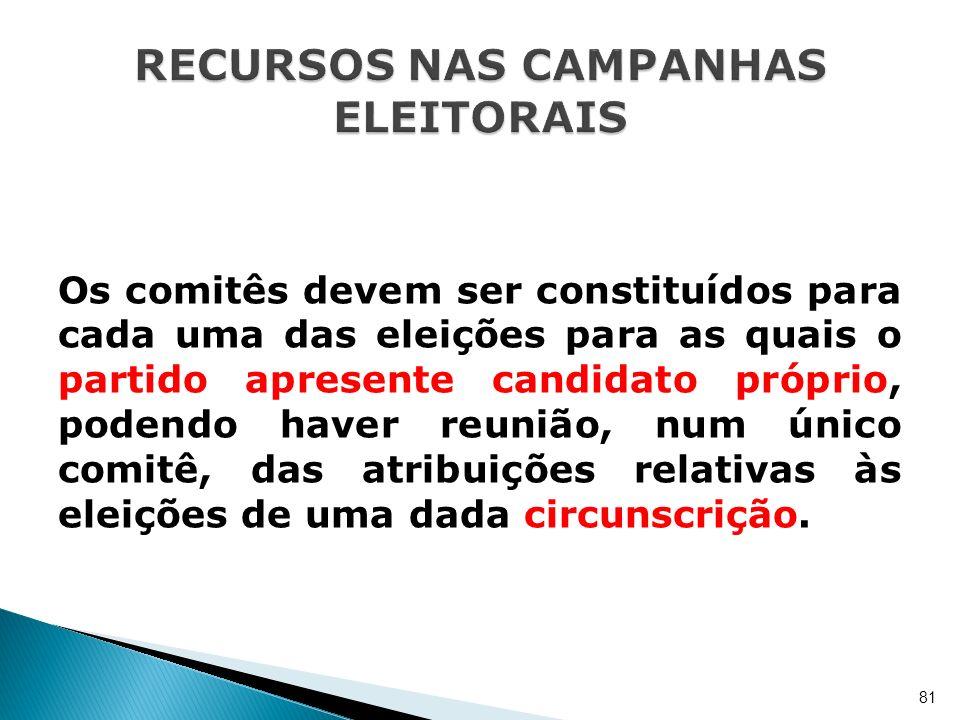 Os comitês devem ser constituídos para cada uma das eleições para as quais o partido apresente candidato próprio, podendo haver reunião, num único com