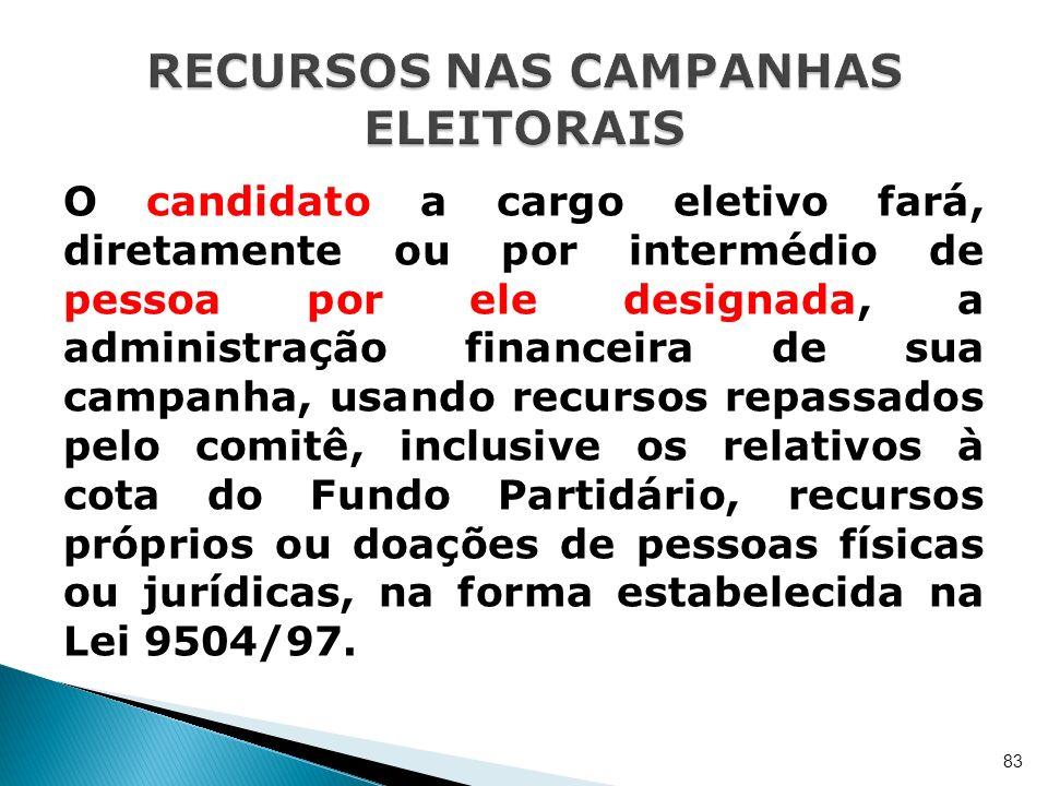 O candidato a cargo eletivo fará, diretamente ou por intermédio de pessoa por ele designada, a administração financeira de sua campanha, usando recurs