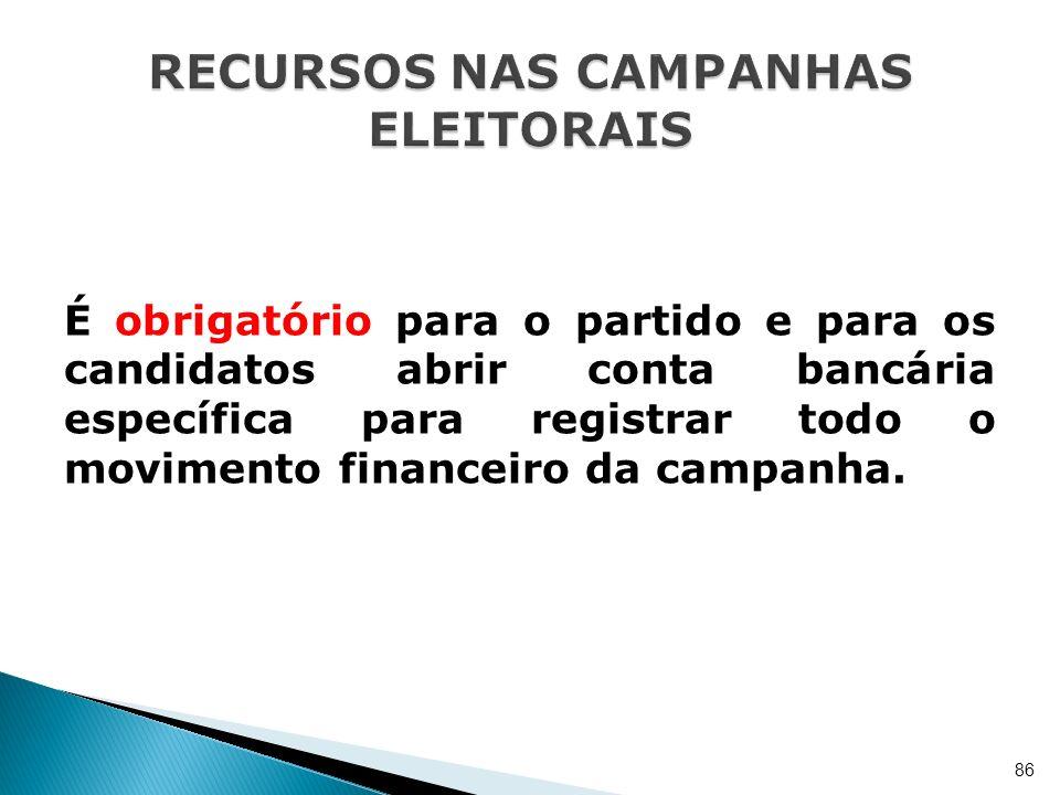 É obrigatório para o partido e para os candidatos abrir conta bancária específica para registrar todo o movimento financeiro da campanha. 86