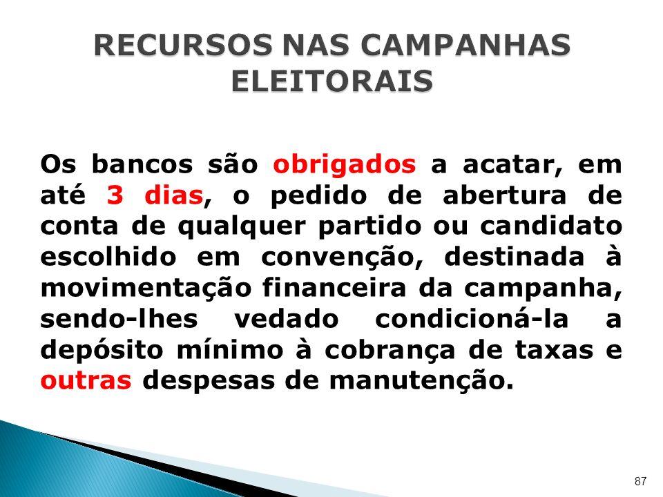 Os bancos são obrigados a acatar, em até 3 dias, o pedido de abertura de conta de qualquer partido ou candidato escolhido em convenção, destinada à mo