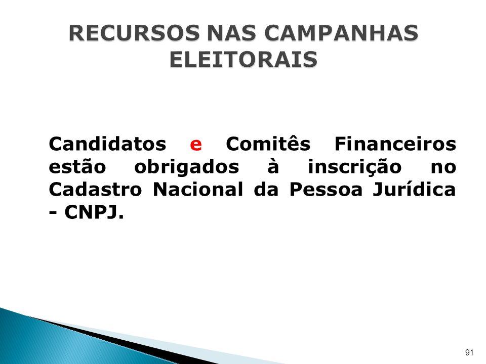 Candidatos e Comitês Financeiros estão obrigados à inscrição no Cadastro Nacional da Pessoa Jurídica - CNPJ. 91