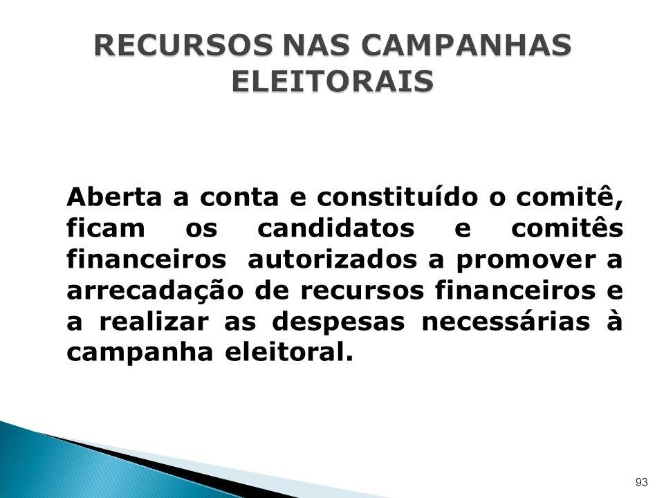 Aberta a conta e constituído o comitê, ficam os candidatos e comitês financeiros autorizados a promover a arrecadação de recursos financeiros e a real