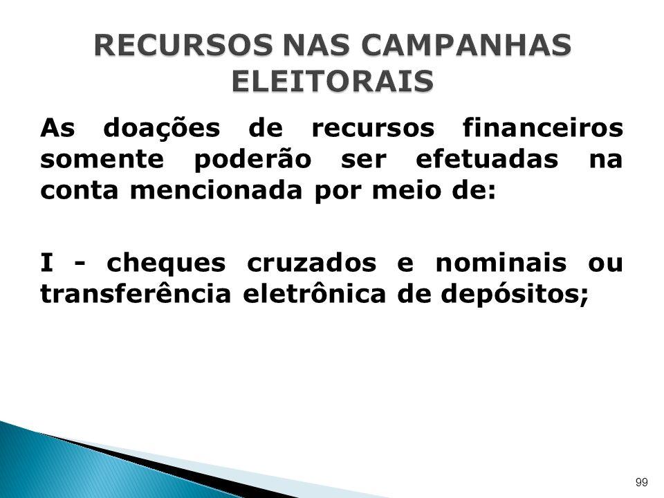 As doações de recursos financeiros somente poderão ser efetuadas na conta mencionada por meio de: I - cheques cruzados e nominais ou transferência ele