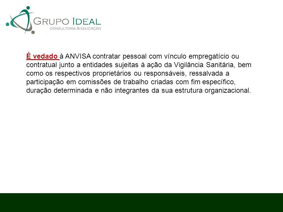 É vedado à ANVISA contratar pessoal com vínculo empregatício ou contratual junto a entidades sujeitas à ação da Vigilância Sanitária, bem como os resp