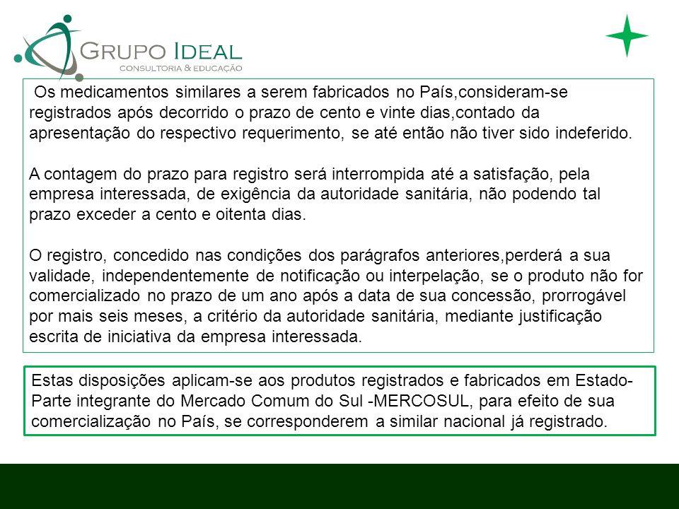 Os medicamentos similares a serem fabricados no País,consideram-se registrados após decorrido o prazo de cento e vinte dias,contado da apresentação do