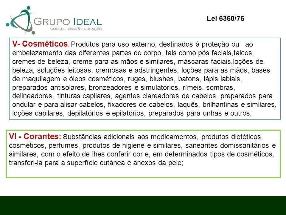 V- Cosméticos : Produtos para uso externo, destinados à proteção ou ao embelezamento das diferentes partes do corpo, tais como pós faciais,talcos, cre