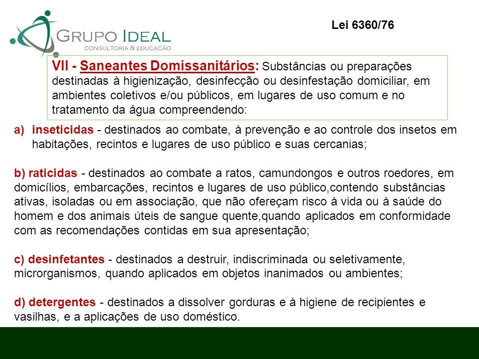 a)inseticidas - destinados ao combate, à prevenção e ao controle dos insetos em habitações, recintos e lugares de uso público e suas cercanias; b) rat