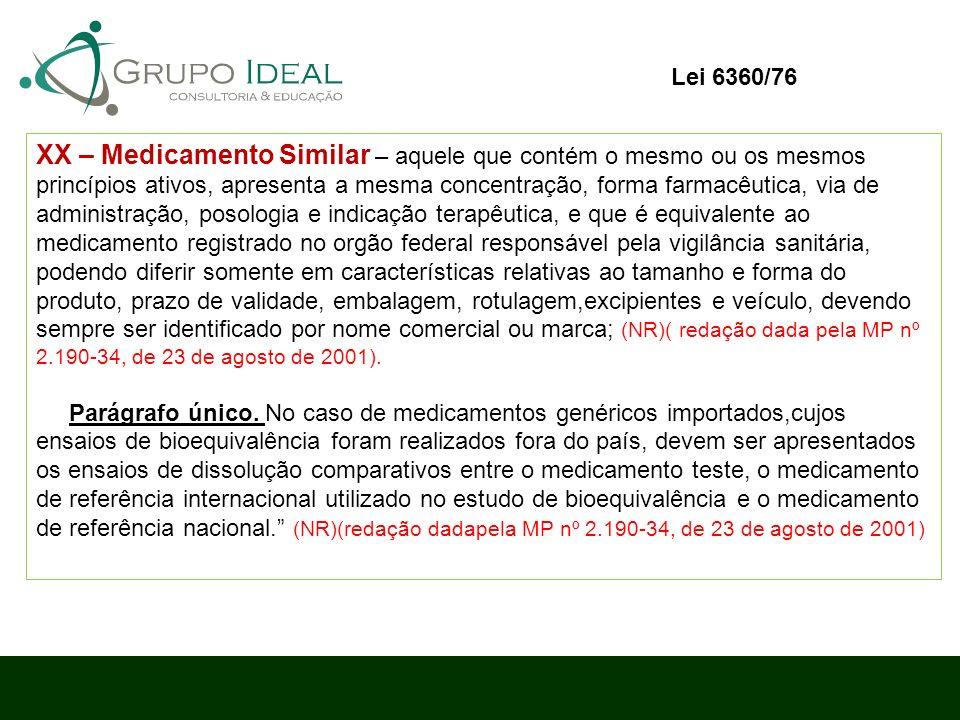 XX – Medicamento Similar – aquele que contém o mesmo ou os mesmos princípios ativos, apresenta a mesma concentração, forma farmacêutica, via de admini