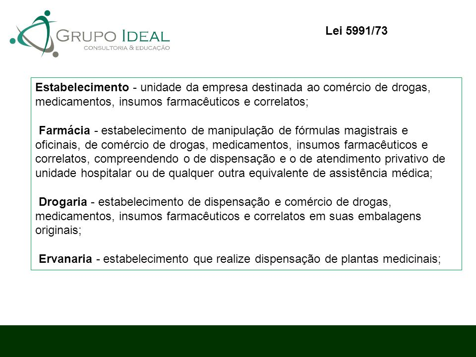 Estabelecimento - unidade da empresa destinada ao comércio de drogas, medicamentos, insumos farmacêuticos e correlatos; Farmácia - estabelecimento de