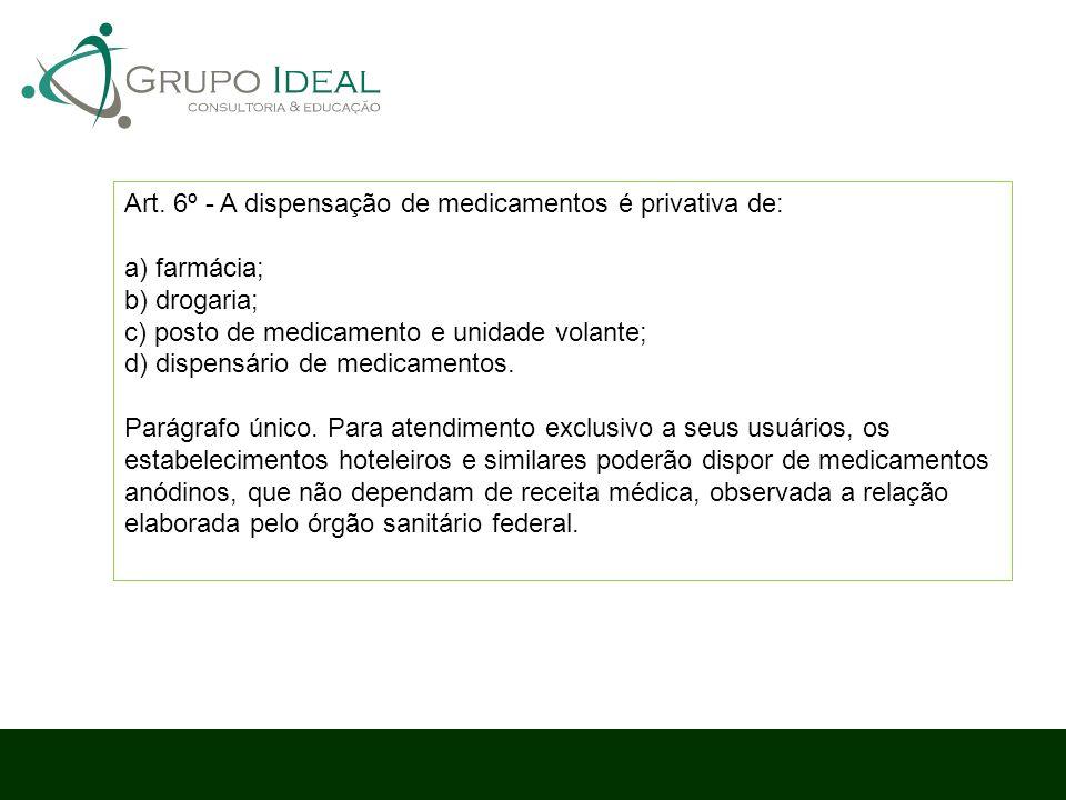 Art. 6º - A dispensação de medicamentos é privativa de: a) farmácia; b) drogaria; c) posto de medicamento e unidade volante; d) dispensário de medicam