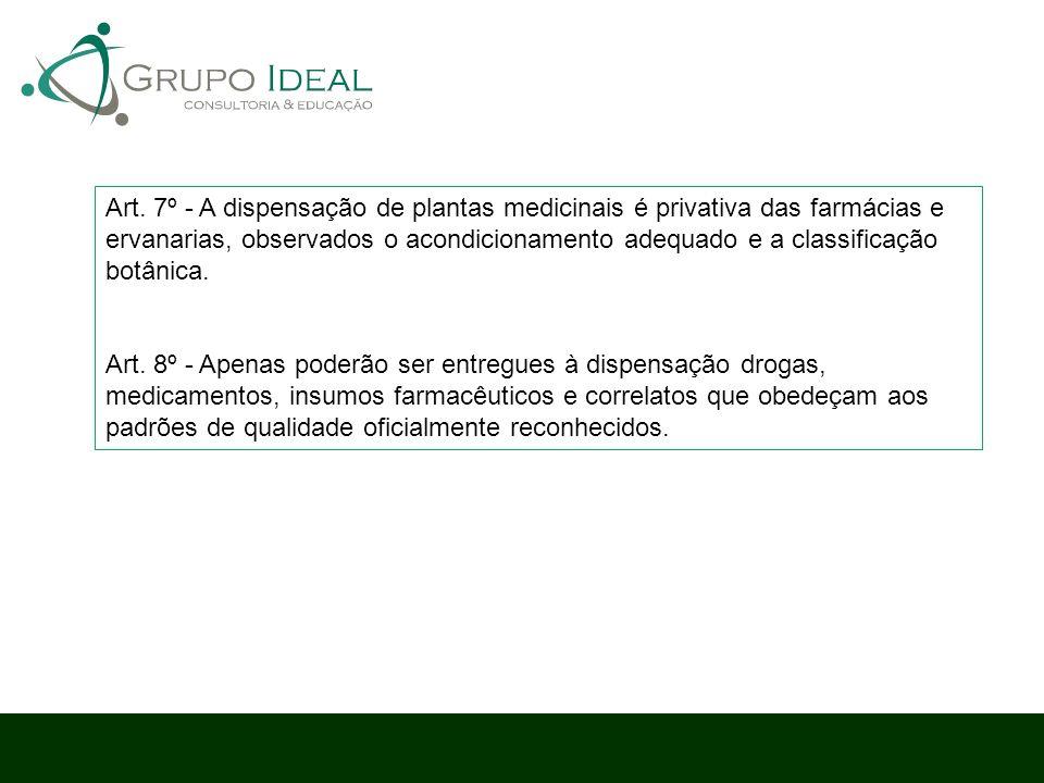 Art. 7º - A dispensação de plantas medicinais é privativa das farmácias e ervanarias, observados o acondicionamento adequado e a classificação botânic