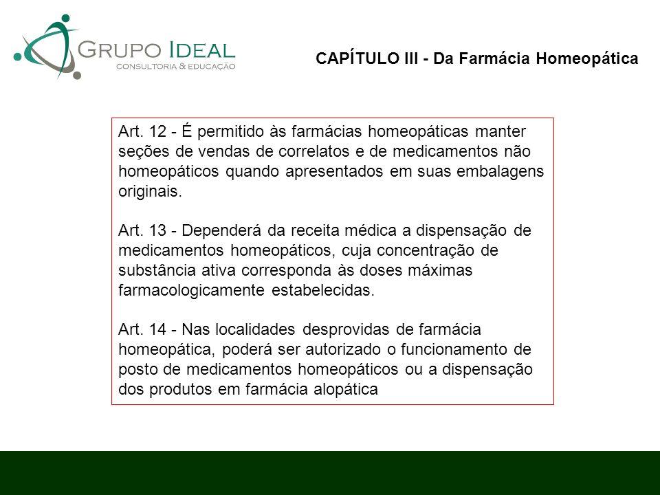 Art. 12 - É permitido às farmácias homeopáticas manter seções de vendas de correlatos e de medicamentos não homeopáticos quando apresentados em suas e