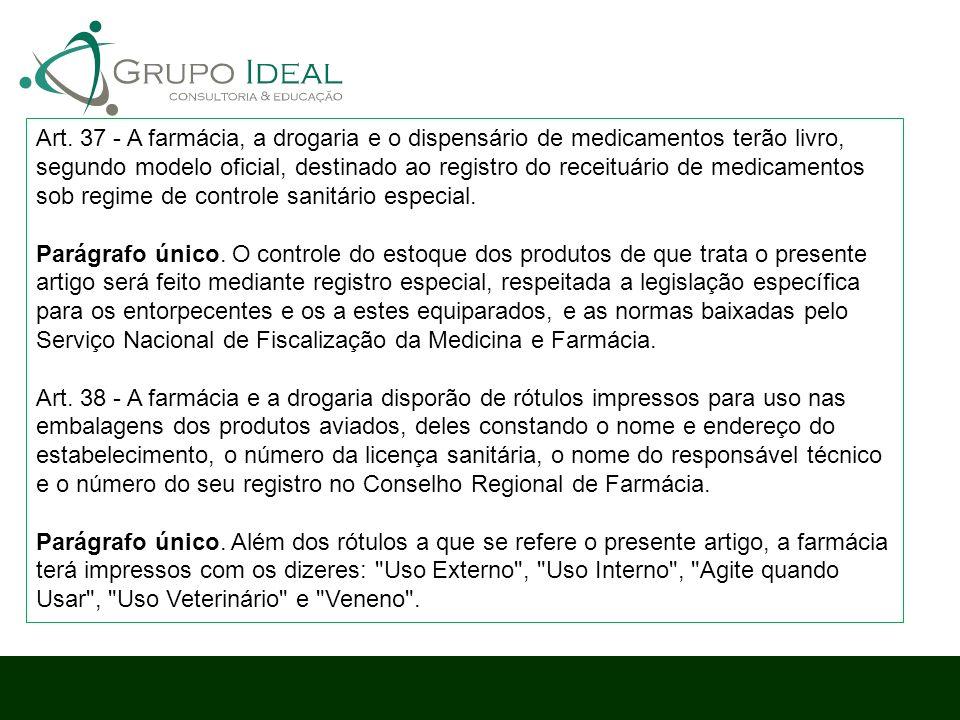 Art. 37 - A farmácia, a drogaria e o dispensário de medicamentos terão livro, segundo modelo oficial, destinado ao registro do receituário de medicame
