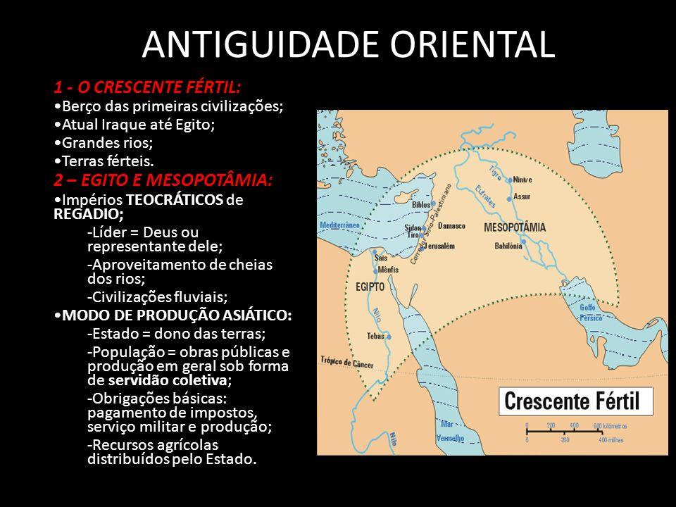 ANTIGUIDADE ORIENTAL 1 - O CRESCENTE FÉRTIL: Berço das primeiras civilizações; Atual Iraque até Egito; Grandes rios; Terras férteis.