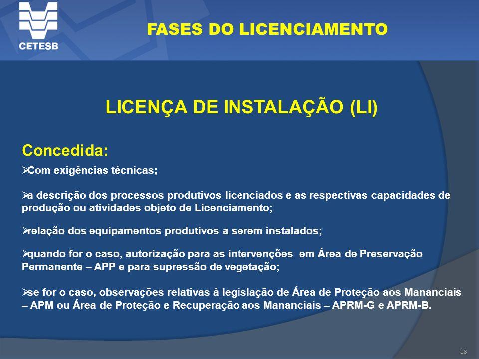 18 FASES DO LICENCIAMENTO LICENÇA DE INSTALAÇÃO (LI) Concedida: Com exigências técnicas; a descrição dos processos produtivos licenciados e as respect