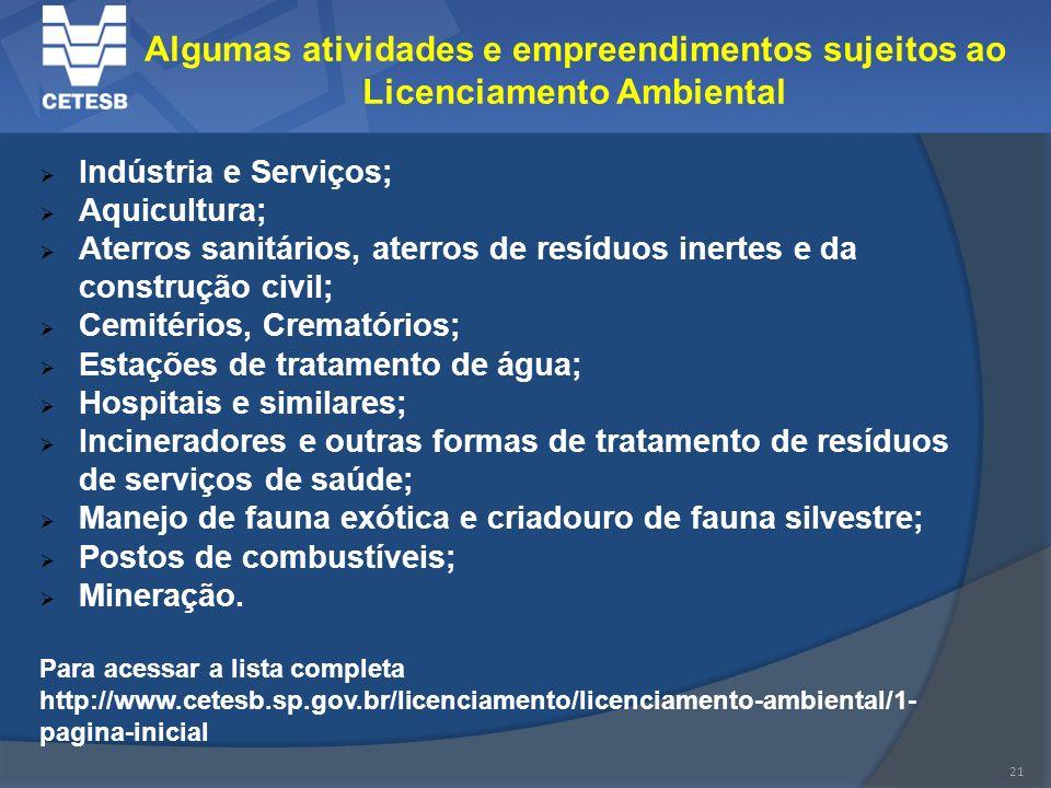 21 Algumas atividades e empreendimentos sujeitos ao Licenciamento Ambiental Indústria e Serviços; Aquicultura; Aterros sanitários, aterros de resíduos