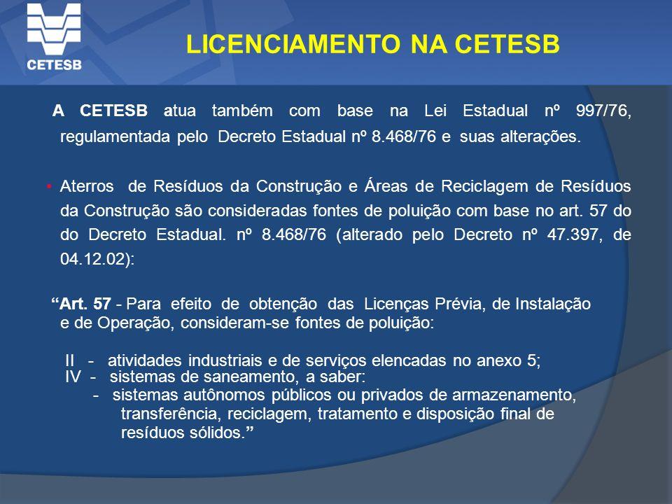 A CETESB atua também com base na Lei Estadual nº 997/76, regulamentada pelo Decreto Estadual nº 8.468/76 e suas alterações. Aterros de Resíduos da Con