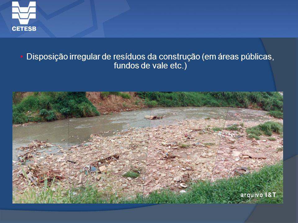 Disposição irregular de resíduos da construção (em áreas públicas, fundos de vale etc.)