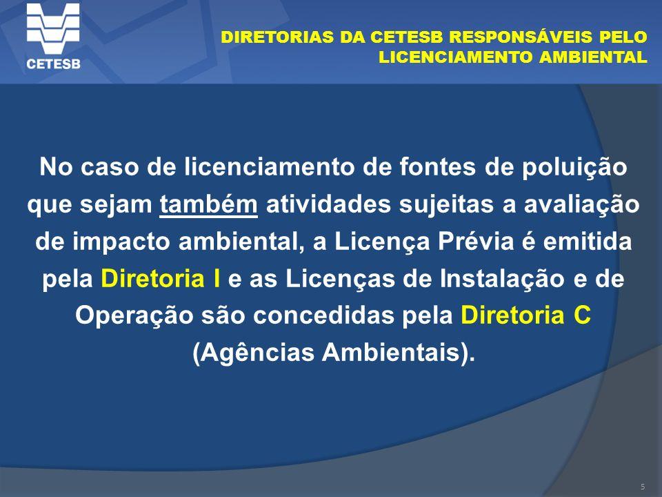 5 DIRETORIAS DA CETESB RESPONSÁVEIS PELO LICENCIAMENTO AMBIENTAL No caso de licenciamento de fontes de poluição que sejam também atividades sujeitas a