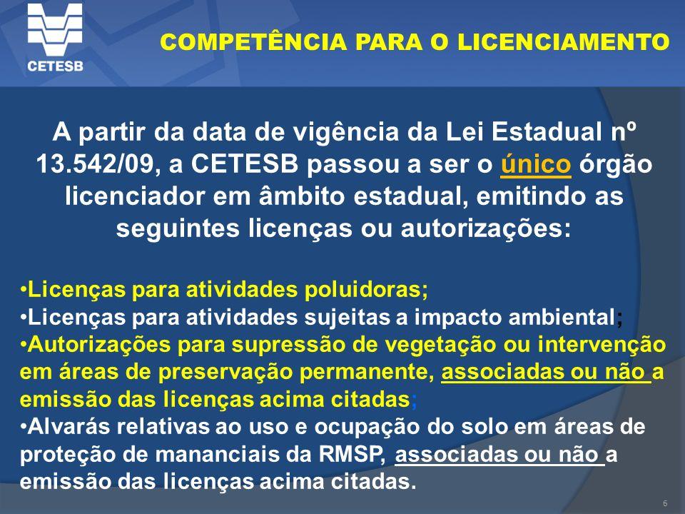 6 COMPETÊNCIA PARA O LICENCIAMENTO A partir da data de vigência da Lei Estadual nº 13.542/09, a CETESB passou a ser o único órgão licenciador em âmbit