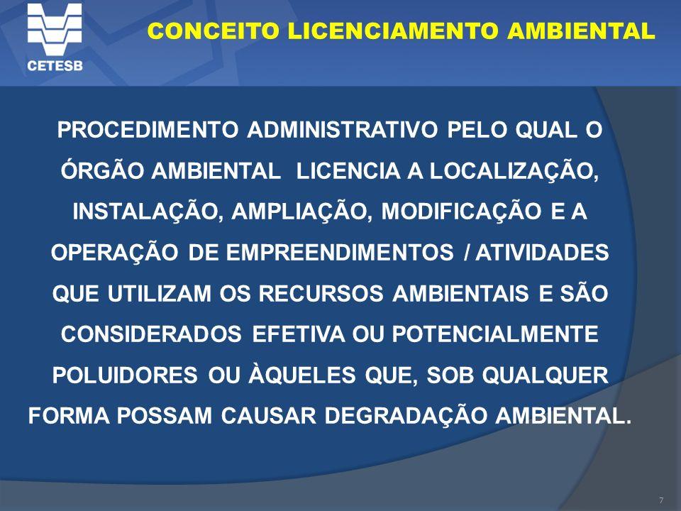 7 CONCEITO LICENCIAMENTO AMBIENTAL PROCEDIMENTO ADMINISTRATIVO PELO QUAL O ÓRGÃO AMBIENTAL LICENCIA A LOCALIZAÇÃO, INSTALAÇÃO, AMPLIAÇÃO, MODIFICAÇÃO