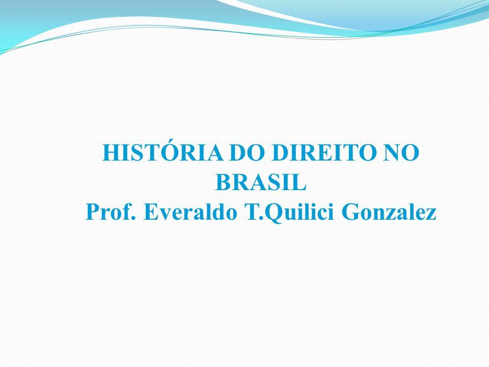 HISTÓRIA DO DIREITO NO BRASIL Prof. Everaldo T.Quilici Gonzalez