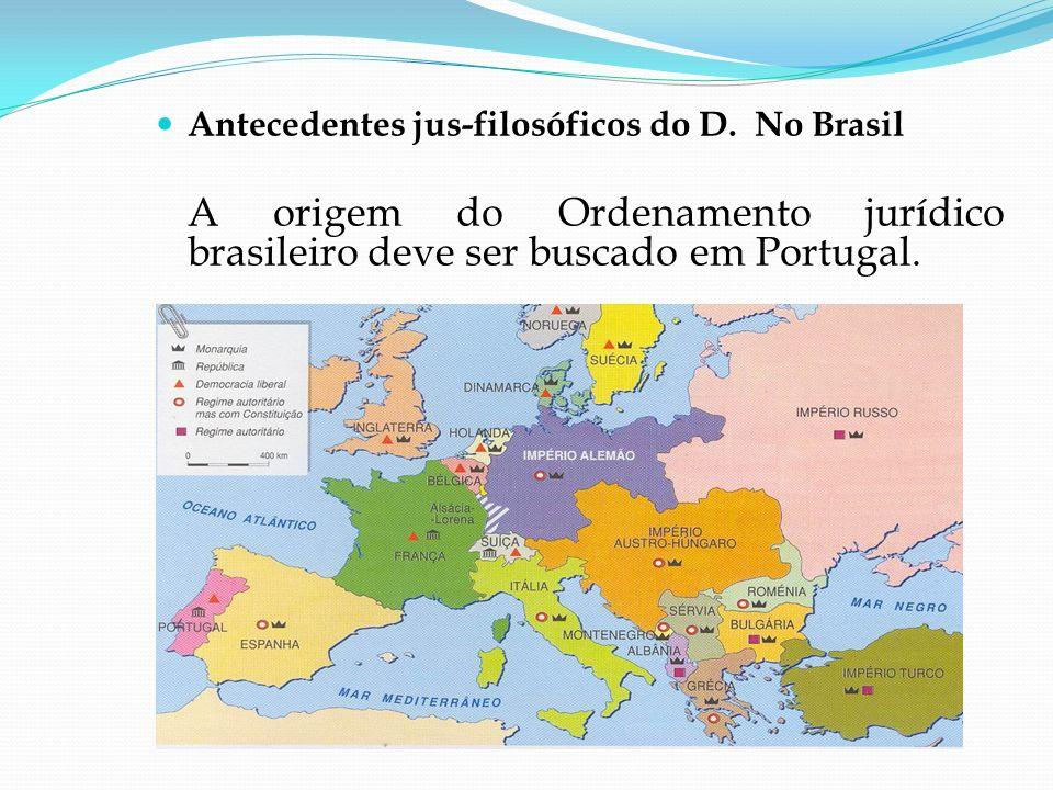 Antecedentes jus-filosóficos do D. No Brasil A origem do Ordenamento jurídico brasileiro deve ser buscado em Portugal.