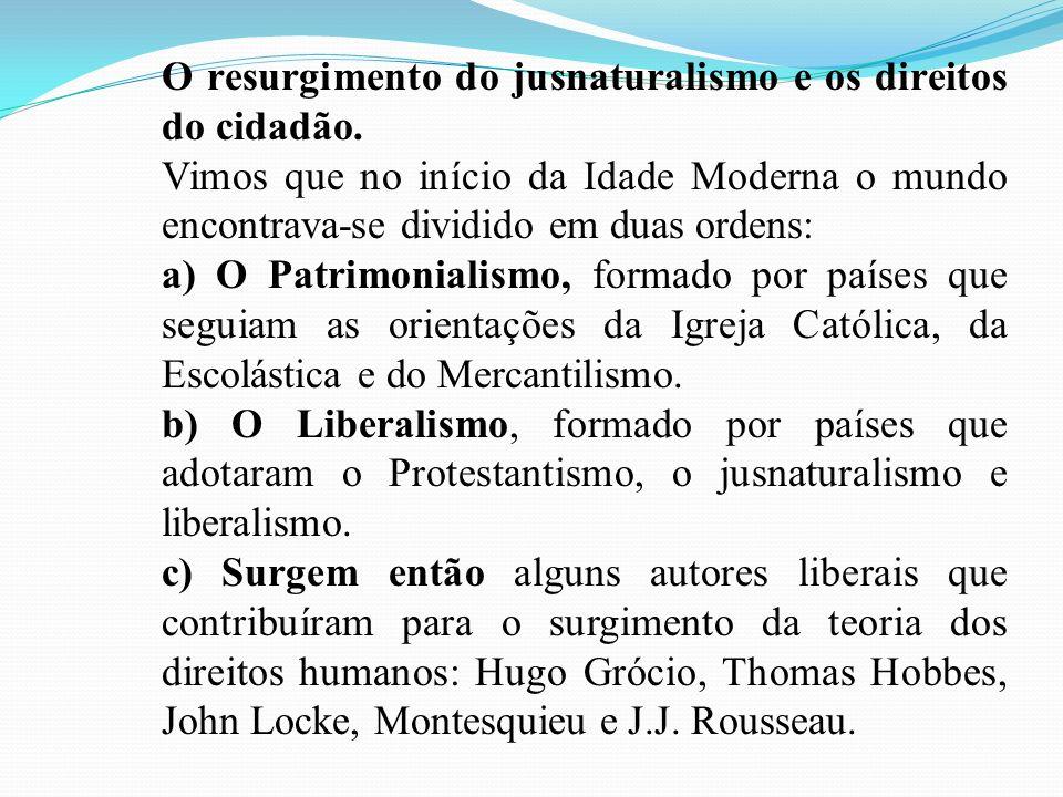 O resurgimento do jusnaturalismo e os direitos do cidadão. Vimos que no início da Idade Moderna o mundo encontrava-se dividido em duas ordens: a) O Pa