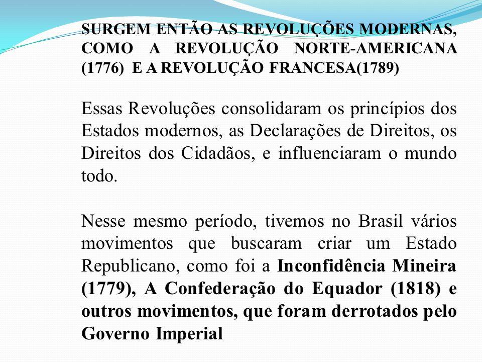 SURGEM ENTÃO AS REVOLUÇÕES MODERNAS, COMO A REVOLUÇÃO NORTE-AMERICANA (1776) E A REVOLUÇÃO FRANCESA(1789) Essas Revoluções consolidaram os princípios
