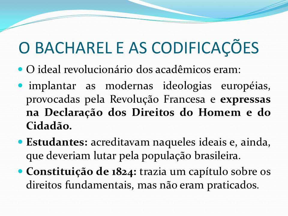 O BACHAREL E AS CODIFICAÇÕES O ideal revolucionário dos acadêmicos eram: implantar as modernas ideologias européias, provocadas pela Revolução Frances
