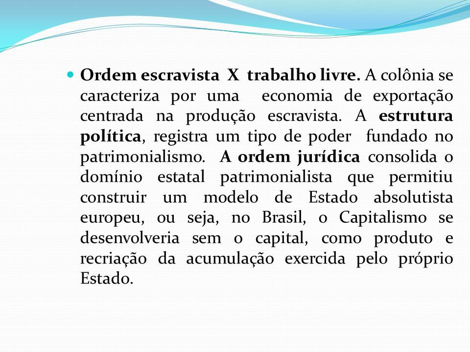 Ordem escravista X trabalho livre. A colônia se caracteriza por uma economia de exportação centrada na produção escravista. A estrutura política, regi