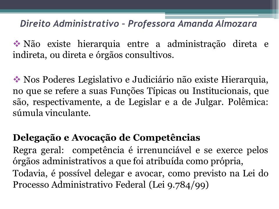 Direito Administrativo – Professora Amanda Almozara Não existe hierarquia entre a administração direta e indireta, ou direta e órgãos consultivos. Nos