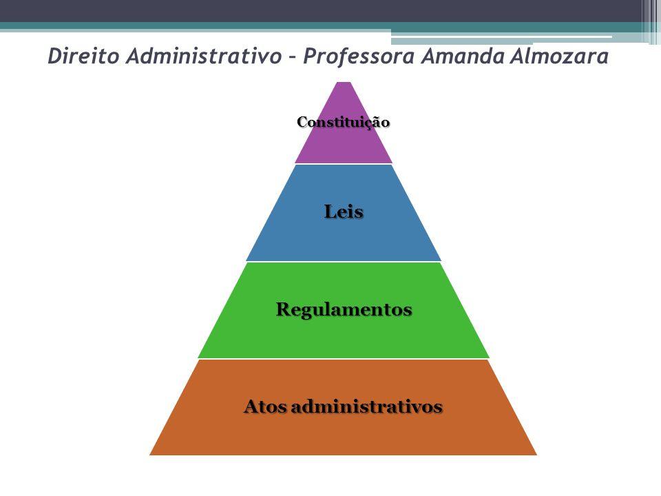 Direito Administrativo – Professora Amanda AlmozaraConstituiçãoLeis Regulamentos Atos administrativos