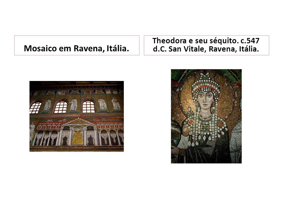 Mosaico em Ravena, Itália. Theodora e seu séquito. c.547 d.C. San Vitale, Ravena, Itália.