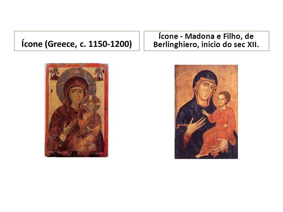 Ícone (Greece, c. 1150-1200) Ícone - Madona e Filho, de Berlinghiero, inicio do sec XII.