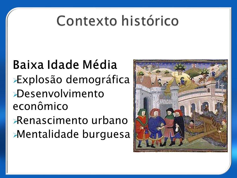 Baixa Idade Média Explosão demográfica Desenvolvimento econômico Renascimento urbano Mentalidade burguesa