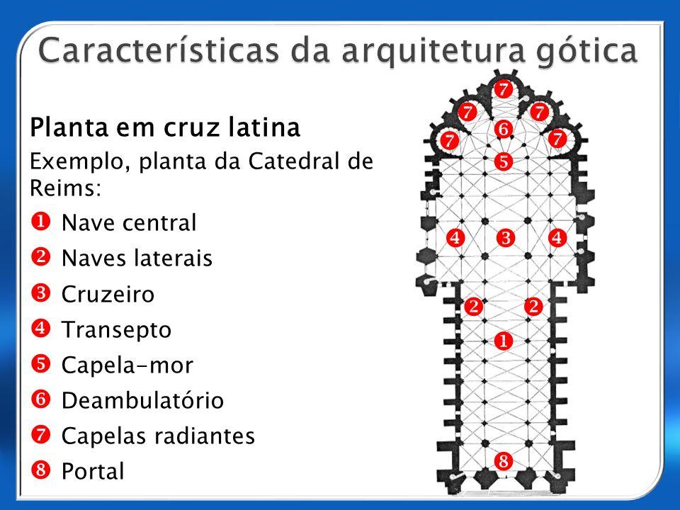 Planta em cruz latina Exemplo, planta da Catedral de Reims: Nave central Naves laterais Cruzeiro Transepto Capela-mor Deambulatório Capelas radiantes Portal