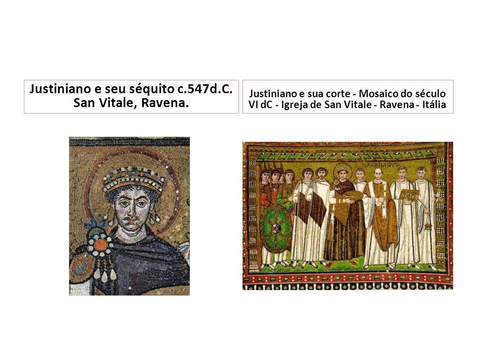 Justiniano e seu séquito c.547d.C. San Vitale, Ravena. Justiniano e sua corte - Mosaico do século VI dC - Igreja de San Vitale - Ravena - Itália