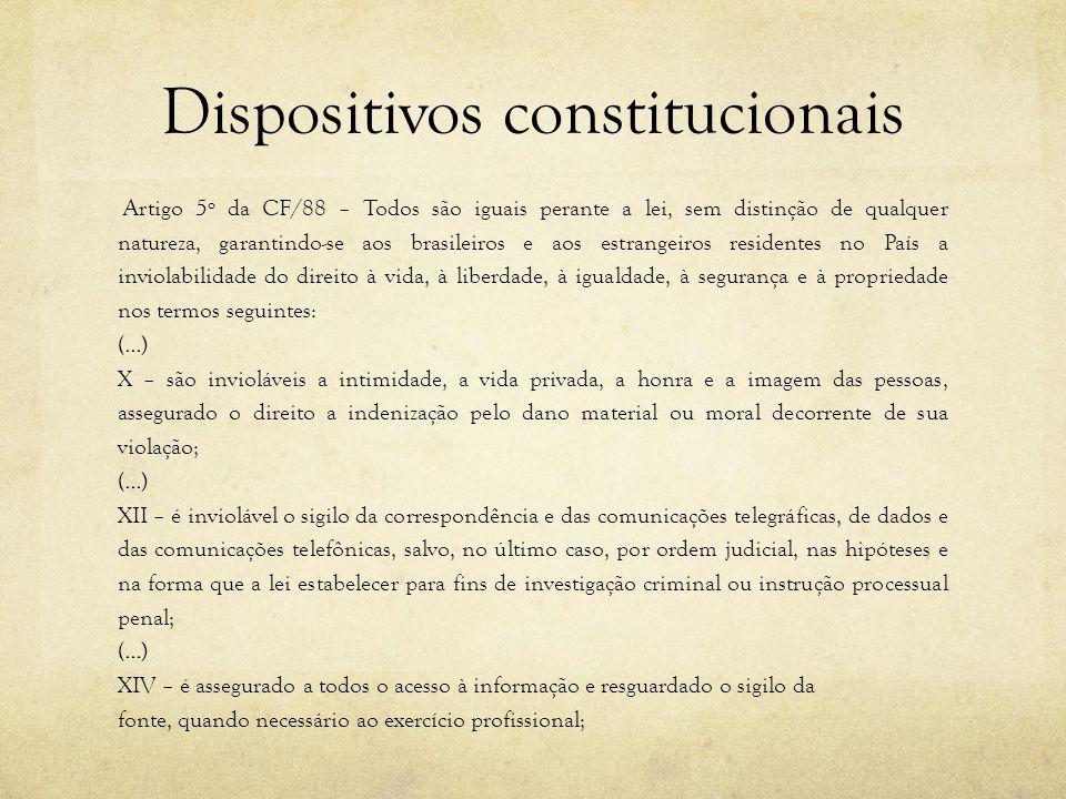 Dispositivos constitucionais Artigo 5º da CF/88 – Todos são iguais perante a lei, sem distinção de qualquer natureza, garantindo-se aos brasileiros e
