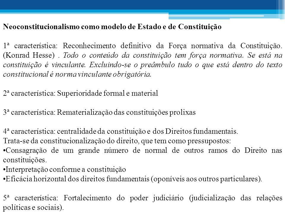 Neoconstitucionalismo como modelo de Estado e de Constituição 1ª característica: Reconhecimento definitivo da Força normativa da Constituição.