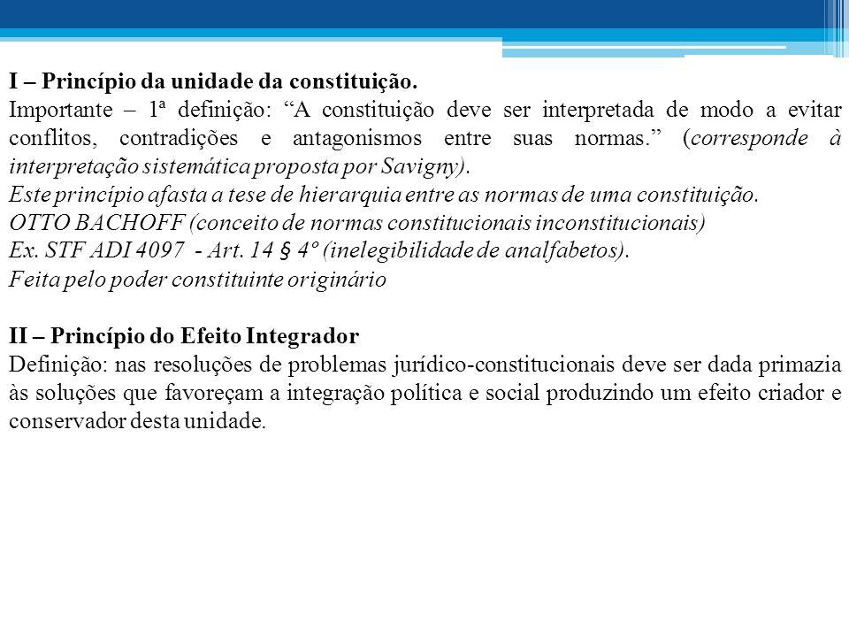 I – Princípio da unidade da constituição.