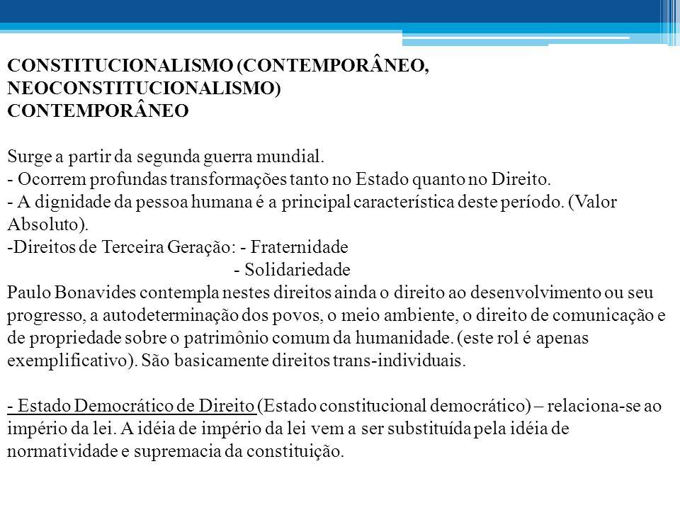 CONSTITUCIONALISMO (CONTEMPORÂNEO, NEOCONSTITUCIONALISMO) CONTEMPORÂNEO Surge a partir da segunda guerra mundial.