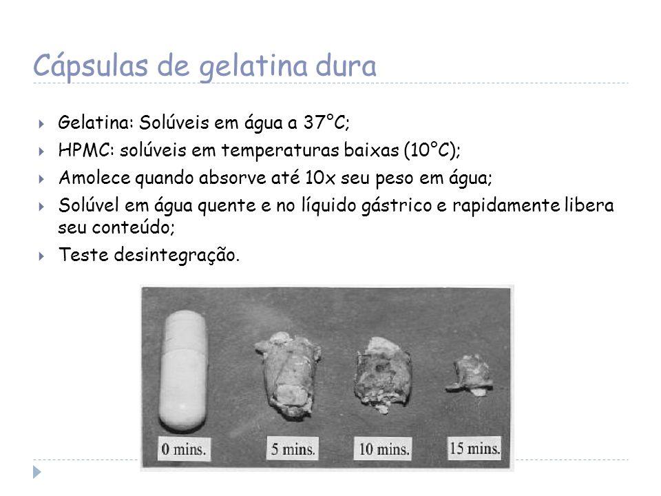 Cápsulas de gelatina dura Gelatina: Solúveis em água a 37°C; HPMC: solúveis em temperaturas baixas (10°C); Amolece quando absorve até 10x seu peso em