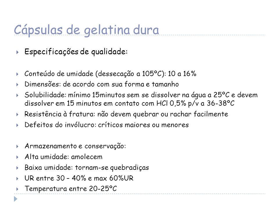 Cápsulas de gelatina dura Especificações de qualidade: Conteúdo de umidade (dessecação a 105ºC): 10 a 16% Dimensões: de acordo com sua forma e tamanho