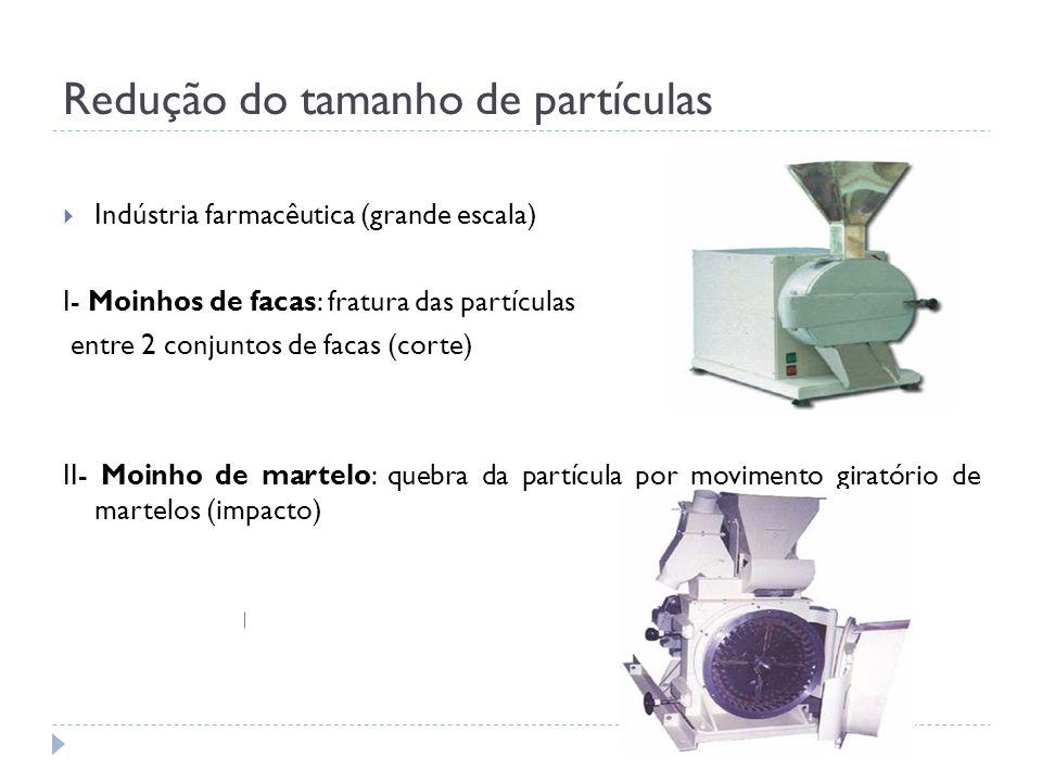 Redução do tamanho de partículas Indústria farmacêutica (grande escala) I- Moinhos de facas: fratura das partículas entre 2 conjuntos de facas (corte)